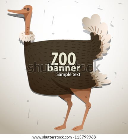vector funny zoo banner, ostrich