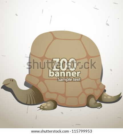 vector funny zoo banner, turtle