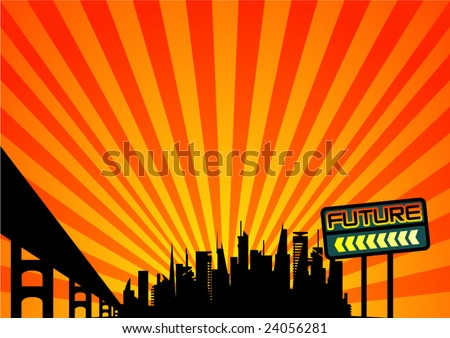 vector futuristic city silhouette on orange background with yellow sunny rays
