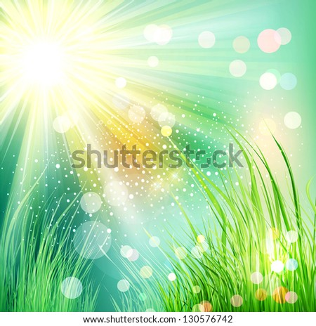 Vector futuristic landscape with grass and sunlight