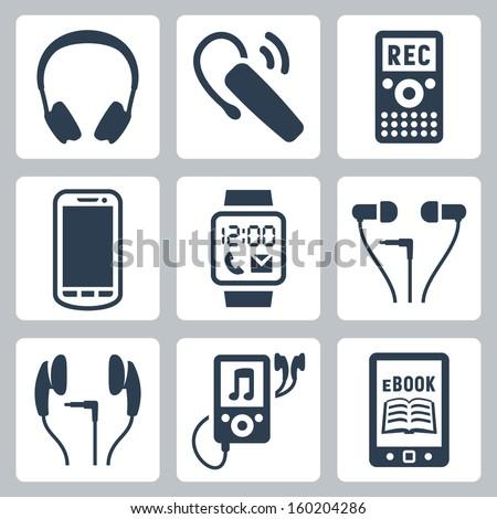 Vector gadgets icons set: headphones, wireless headset, dictaphone, smartphone, smart watch, MP3 player, ebook reader - stock vector