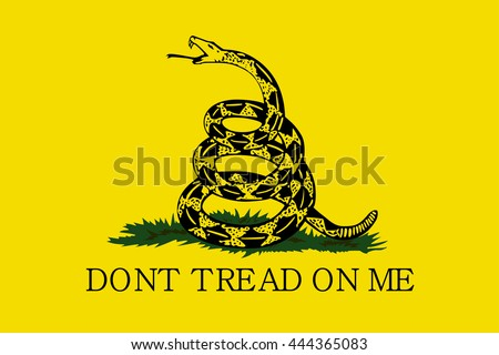 Vector Gadsden flag depicting a rattlesnake coiled in the grass and the inscription Don't Tread On Me