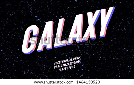 Vector galaxy font 3d bold style trendy typography for party poster, printing on fabric, t shirt, promotion, decoration, stamp, label, special offer. Modern alphabet. Vector 10 eps