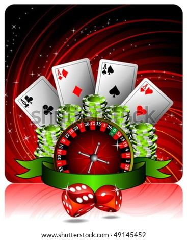 Vector gambling illustration with casino elements and ribbon.