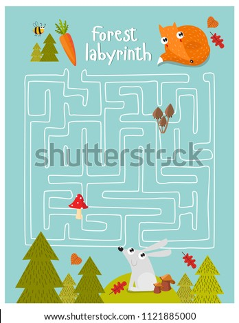 Vector game for children with a labyrinth.  forest labyrinth. Forest animals. hare, fox. cartoon animals.