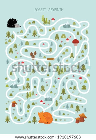 Vector game for children with a labyrinth.  forest labyrinth. Forest animals.hedgehog, fox. cartoon animals.  Stock photo ©