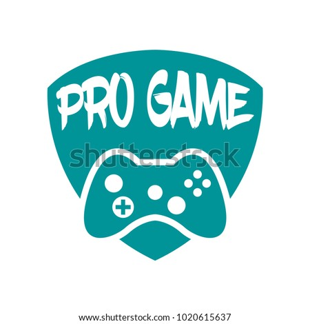 Vector game play joystick in vintage style. Design elements, icons, logo, emblems and badges isolated.