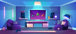 Vector game room illustration, modern esports concept. Night stream, digital entertainment in neon light in club, lounge. Joysticks for computer, gamepads for console and cozy furniture.