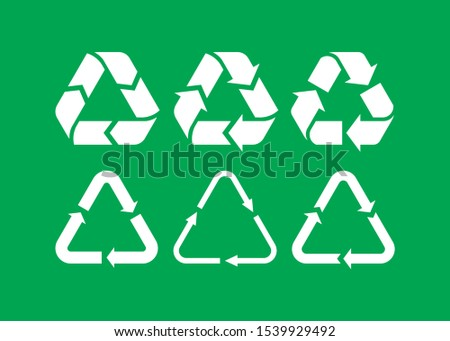 Vector Garbage recycling symbols. Vector recycling arrows. Reuse Reduce Recycle. Trash recycle set.