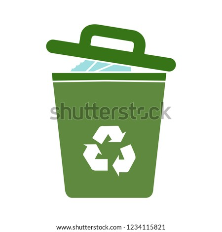 vector garbage trash can isolated sign - recycling junk basket garbage sign symbol . delete recyclebin illustration icon