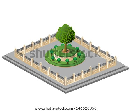 Vector garden behind a fence on a white background