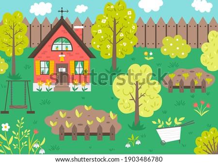 vector garden scene with trees