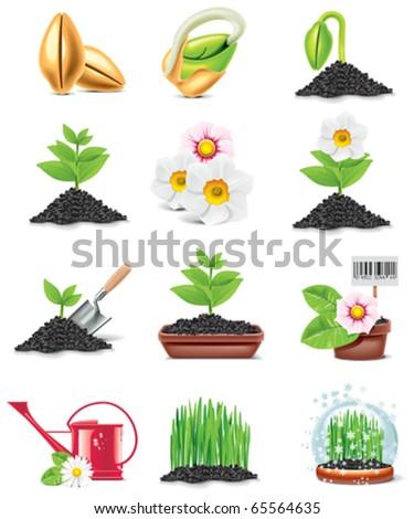 vector gardening icon set