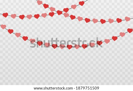 Vector garland of hearts. Hearts for Valentine's Day. Garland png, hearts png. Garland of love on an isolated transparent background.
