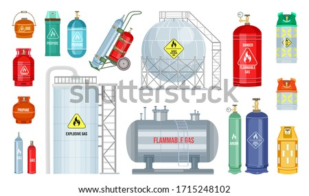 Vector gas cylinder set icon. Cylindrical container with liquefied compressed gases with high pressure and valves isolated. Lpg gas-bottle and gas-cylinder. Safety fuel tank of helium butane acetylene