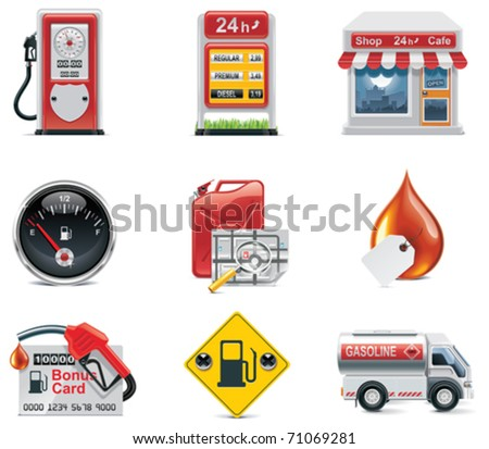 Vector gas station icon set - stock vector