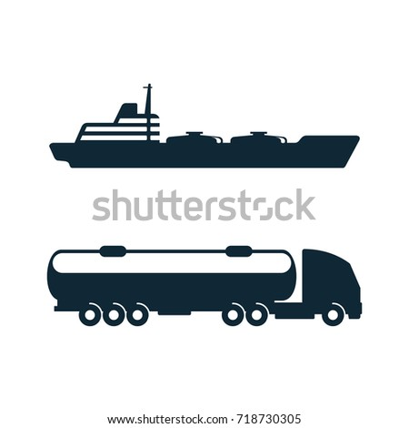 vector gasoline tanker truck vehicle and oil tanker ship set simple flat icon pictogram isolated on a white background. Gas oil fuel, energy power industry symbol, sign