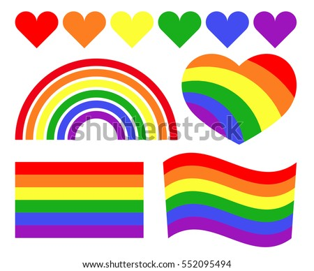 Vector gay LGBT rainbow symbols. Homosexual pride banner icon illustration.