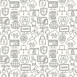 Vector GDPR - General Data Protection Regulation seamless pattern with line style icons. Web Privacy and security black on white background.
