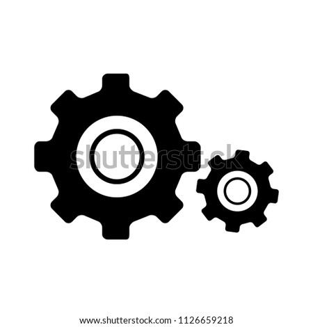 vector gear cogs. wheel symbol, machine engine element - progress sign