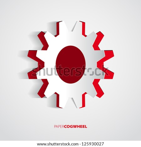 Vector gear paper card - Red cogwheel illustration