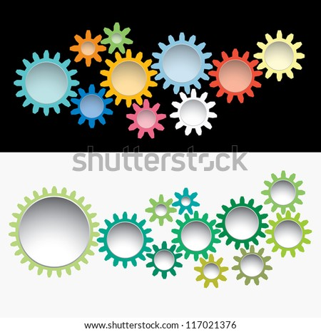 vector gears background like machinery flowers