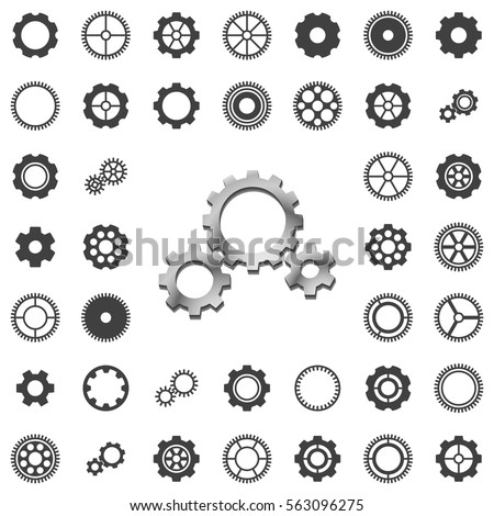 vector gears icons big set on