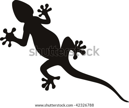 stock vector : vector gecko tattoo isolated on withe background