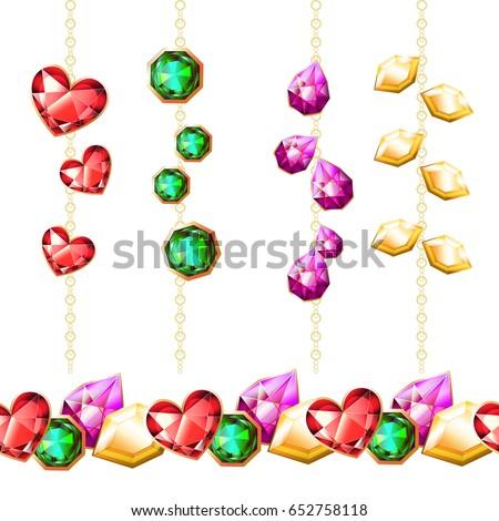 Vector gems. Endless horizontal pattern with diamonds #652758118