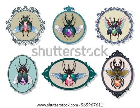 Vector Gemstone Bugs Set Jewel Beetles Treasures Insect Collection Decorative Frames