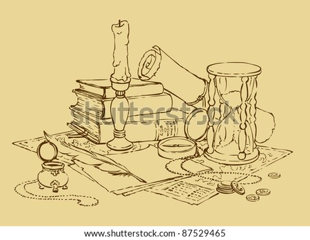 Vector geographic still life: map, compass, hourglass, books, a candle in a candlestick and a pen with ink