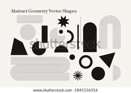 Vector Geometric Abstract shapes. Boho isolated elements. Mid century modern minimalist art print. Organic natural shape.