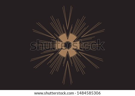 Vector geometric alchemy symbol with eye, sun. Abstract occult and mystic signs. Linear logo and spiritual design. Concept of imagination, magic, creativity, religion, astrology.