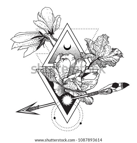 Vector geometric alchemy symbol with flowers, moon, sun triangle. Abstract composition with occult and mystic sign. Linear spiritual design. Concept illustration of magic, science, astrology, space