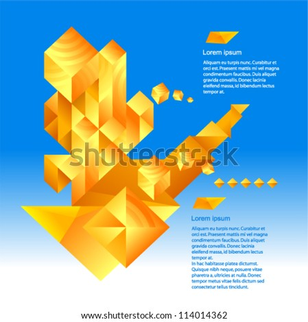 Vector - geometric art, futuristic pattern with many yellow constructions