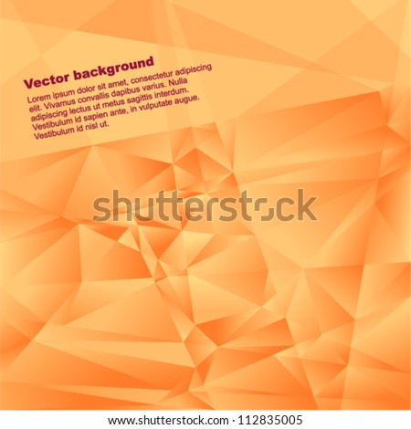 Vector geometric background - futuristic pattern with many brilliant  orange triangles