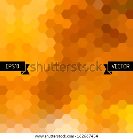 Vector geometric background with colorful hexagons. Orange honey combs pattern