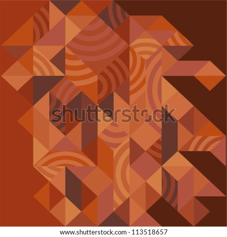 Vector geometric background - wooden futuristic pattern - stock vector