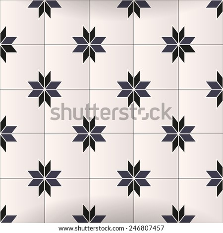 Vector geometric black and white floor graphic mosaic tiling design