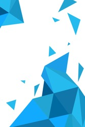 Vector geometric blue polygonal abstract background with triangles. Place for text. Can be used as splash screen for mobile application or smartphone. Vertical layout