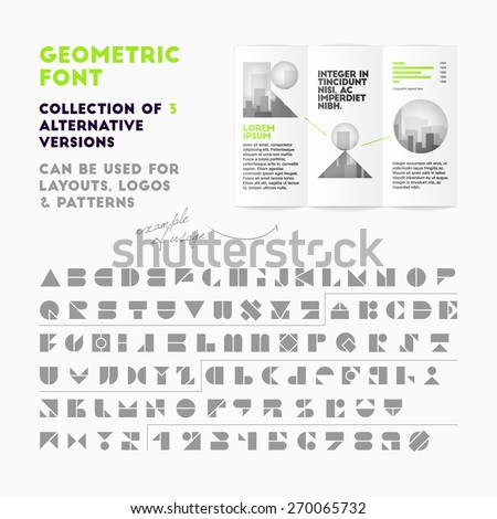 Vector geometric font collection of 3 alternative versions. High quality design element Stock fotó ©