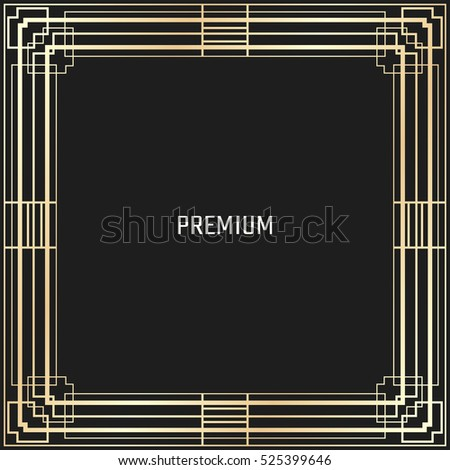 Vector geometric frame in Art Deco style. Square abstract element for design. Light golden lined shape. #525399646