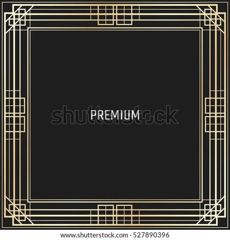 Vector geometric frame in Art Deco style. Square abstract element for design. Light golden lined shape. #527890396