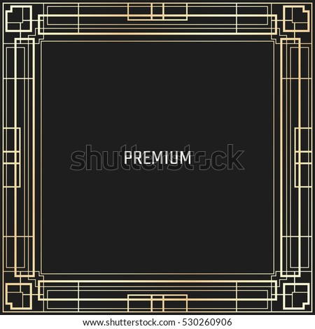 Vector geometric frame in Art Deco style. Square abstract element for design. Light golden lined shape. Sandblasting ornament #530260906