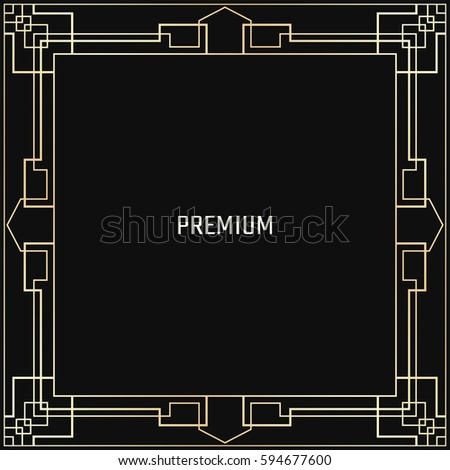 Vector geometric frame in Art Deco style. Square abstract element for design. Light golden lined shape. Sandblasting ornament. #594677600
