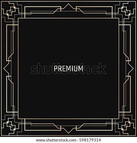 Vector geometric frame in Art Deco style. Square abstract element for design. Light golden lined shape. Sandblasting ornament. #598179314