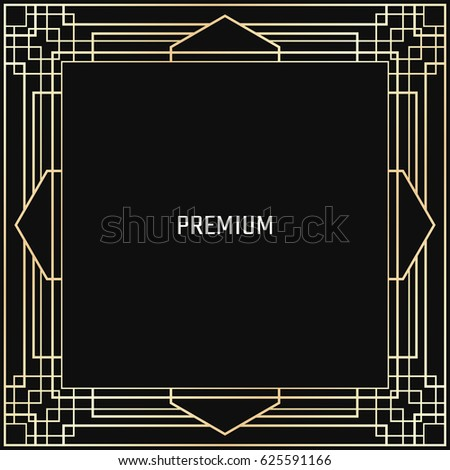 Vector geometric frame in Art Deco style. Square abstract element for design. Light golden lined shape. Sandblasting ornament #625591166