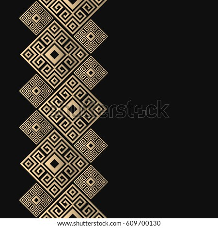 Vector geometric frame in greek style. Seamless border for design. Black and golden background with meander ornament. Greece pattern.