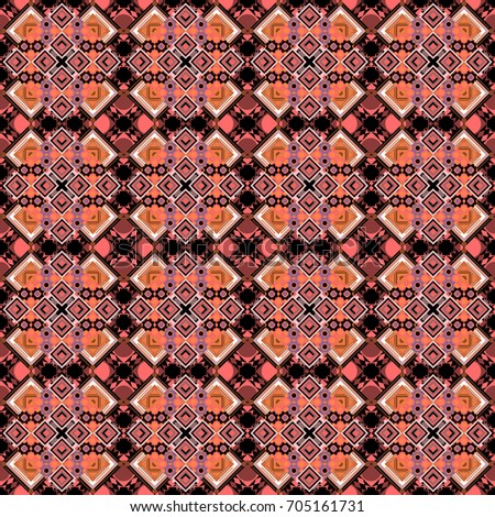 Vector geometric neutral, orange and pink seamless background.