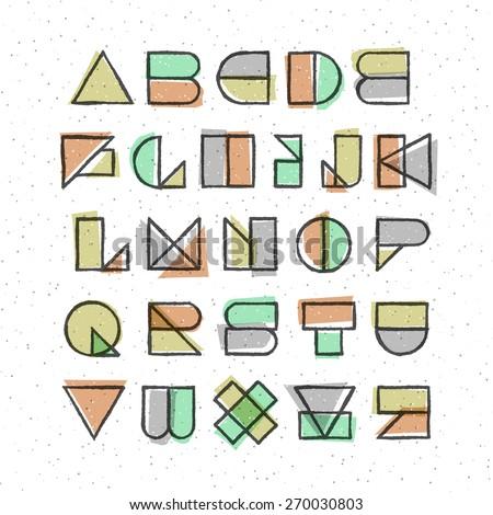 Vector geometric offset printing style font. High quality design element. Stock fotó ©